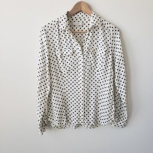 Ann taylor loft polka dot long sleeve shirt size S